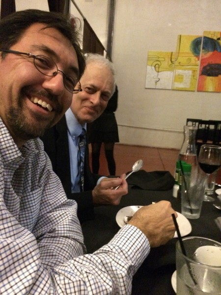 Dr. Sherwood and San enjoying a dinner out with the Center for Vision Research